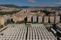 An aerial view shows a tent city set up by AFAD in Izmir