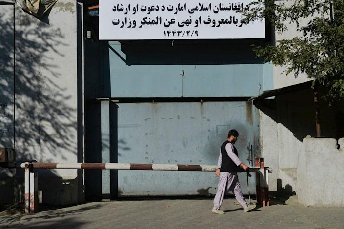 The entrance to the ministry for the 'promotion of virtue and prevention of vice' in Kabul (AFP via Getty)