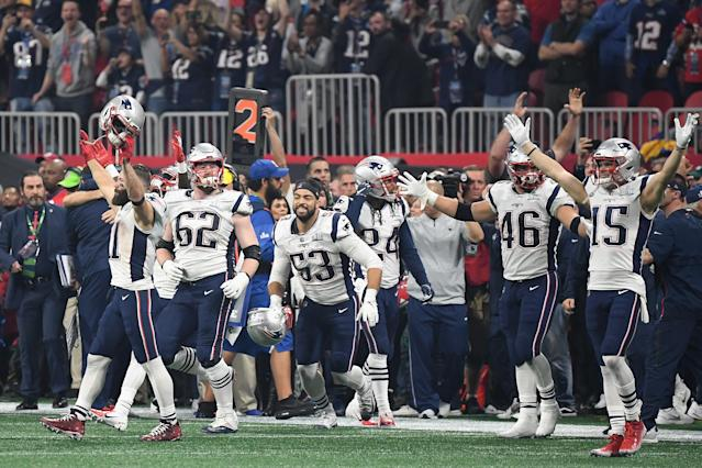 <p>The New England Patriots react after defeating the Los Angeles Rams 13-3 during Super Bowl LIII at Mercedes-Benz Stadium on February 3, 2019 in Atlanta, Georgia. (Photo by Harry How/Getty Images) </p>