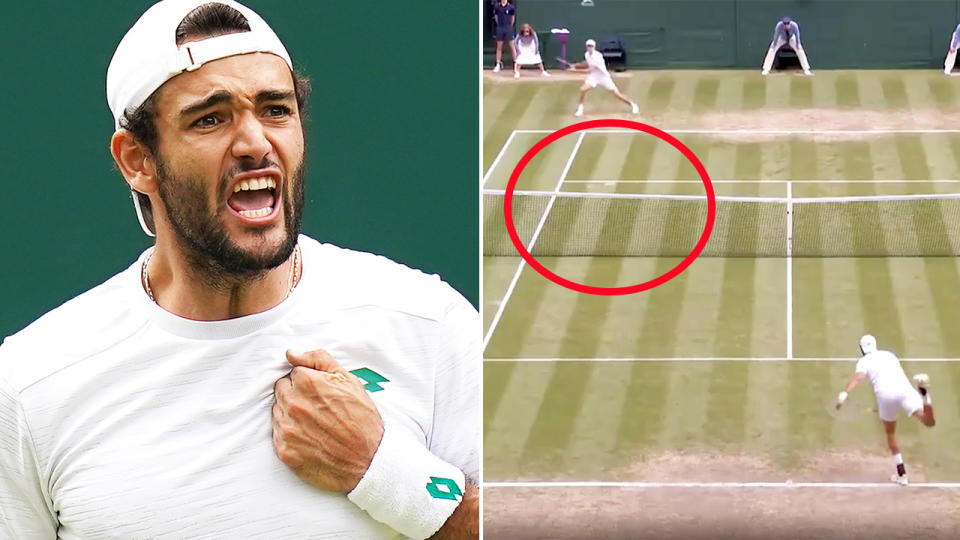 Matteo Berrettini, pictured here sealing his place in the Wimbledon final.