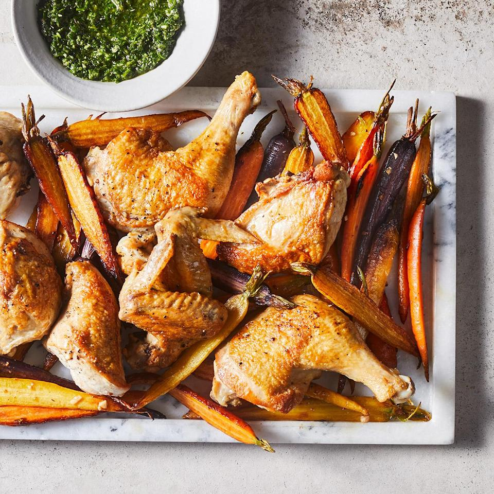 <p>Nothing says comfort like a roasted whole chicken, but it can take a while to cook. Using parts instead puts this easy roast chicken on the weeknight menu. Fresh herbs, lemon juice and capers in this Italian salsa verde sauce brighten things up.</p>