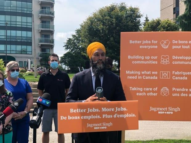 NDP Leader Jagmeet Singh announces Better Jobs. More Jobs. plan during a press conference in Coventry Gardens.  (Jennifer La Grassa/CBC - image credit)