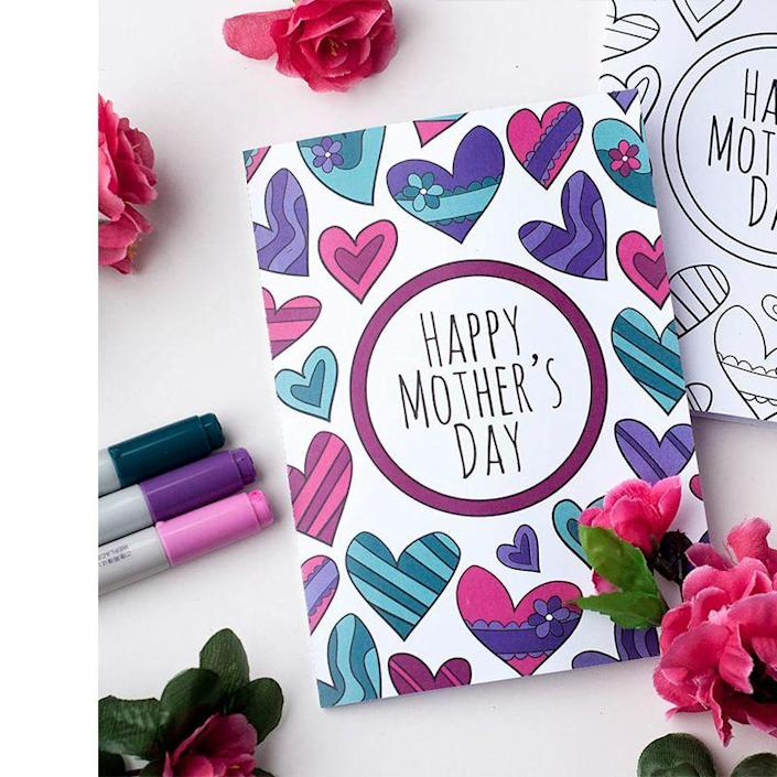 """<p>This card can be printed as is, and it's gorgeous. But it can also be printed without the colors so kids can decorate it themselves.</p><p><em><strong>Get the printable at <a href=""""https://sarahrenaeclark.com/shop/free-mothers-day-coloring-card/"""" rel=""""nofollow noopener"""" target=""""_blank"""" data-ylk=""""slk:Sarah Renae Clark."""" class=""""link rapid-noclick-resp"""">Sarah Renae Clark.</a></strong></em></p>"""