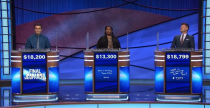 """<p>That means when the game's being played, there are no breaks or reshoots. Barring commercial breaks, contestants play straight through a <a href=""""https://www.jeopardy.com/jbuzz/cast-crew/day-life-alex-trebek-tape-day"""" rel=""""nofollow noopener"""" target=""""_blank"""" data-ylk=""""slk:30-minute episode"""" class=""""link rapid-noclick-resp"""">30-minute episode</a>.</p>"""
