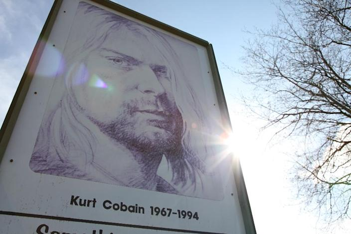 A portrait of Nirvana frontman in Kurt Cobain Park in his hometown Aberdeen, Washington, in the US Pacific Northwest (AFP Photo/Sebastian VUAGNAT)