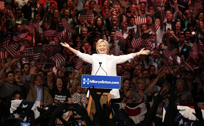 <p>JUN. 7, 2016 — Democratic U.S. presidential candidate Hillary Clinton arrives to speak during her California primary night rally held in the Brooklyn borough of New York. (Lucas Jackson/Reuters) </p>