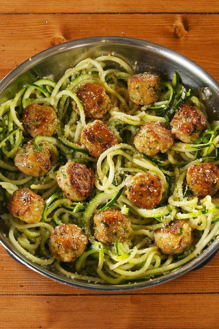 """<p>These garlic butter <a href=""""https://www.delish.com/uk/cooking/recipes/a29185626/italian-meatball-recipe/"""" rel=""""nofollow noopener"""" target=""""_blank"""" data-ylk=""""slk:meatballs"""" class=""""link rapid-noclick-resp"""">meatballs</a> are low-carb, gluten free, and all around better for you without skipping out on any of the tastiness. </p><p>Get the <a href=""""https://www.delish.com/uk/cooking/recipes/a30960003/garlic-butter-meatballs-recipe/"""" rel=""""nofollow noopener"""" target=""""_blank"""" data-ylk=""""slk:Garlic Butter Meatballs"""" class=""""link rapid-noclick-resp"""">Garlic Butter Meatballs</a> recipe.</p>"""