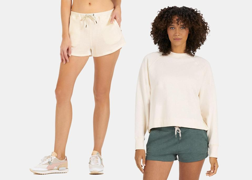 """The women's version of this set features a mid-rise, three-inch terry short, available in shades like apricot, burnt clay, charcoal, and beige. Pair it with Vuori's roomy oversized crew for a casual but just-put-together-enough look to wear by the campfire or around your Airbnb. $68, Vuori (crew). <a href=""""https://vuoriclothing.com/products/womens-sunnyside-crew-apricot?variant=33087444910183"""" rel=""""nofollow noopener"""" target=""""_blank"""" data-ylk=""""slk:Get it now!"""" class=""""link rapid-noclick-resp"""">Get it now!</a>"""
