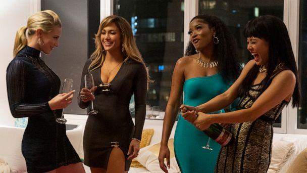 PHOTO: Lili Reinhart, left, Jennifer Lopez, Keke Palmer, and Constance Wu in a scene from 'Hustlers.' (Barbara Nitke/STXfilms via AP)