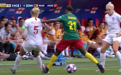 <span>Alexandra Takounda scrapes her foot down Steph Houghton's ankle</span> <span>Credit: bbc </span>