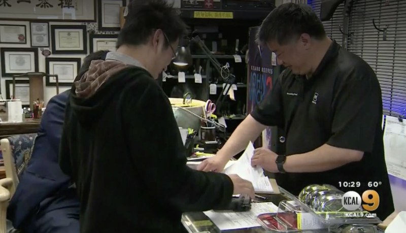 David Liu, a gun shop owner said people are starting to worry and purchasing guns due to the coronavirus. Source: KCAL