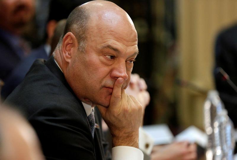 FILE PHOTO - Gary Cohn, director of the National Economic Council, takes part in a strategic and policy CEO discussion with U.S. President Donald Trump in the Eisenhower Execution Office Building in Washington, U.S., April 11, 2017. REUTERS/Joshua Roberts/File Photo