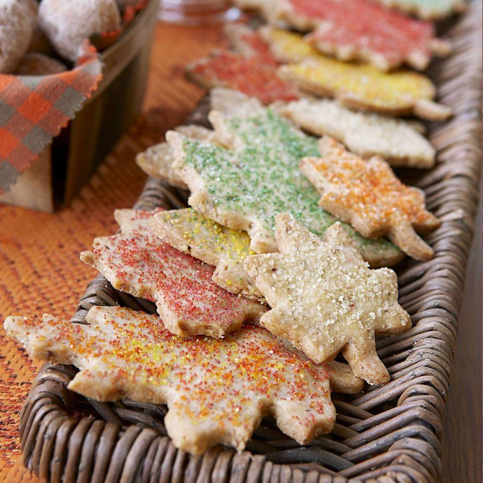 """<p>Decorate these buttery maple pecan cookies in fall-colored sanding sugar for a fun activity you can eat!</p><p><em><a href=""""https://www.goodhousekeeping.com/food-recipes/a11299/pecan-maple-leaves-recipe-ghk1011/"""" rel=""""nofollow noopener"""" target=""""_blank"""" data-ylk=""""slk:Get the recipe for Pecan Maple Leaves »"""" class=""""link rapid-noclick-resp"""">Get the recipe for Pecan Maple Leaves »</a></em></p>"""