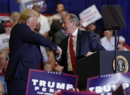 U.S. President Donald Trump holds a campaign rally in Fayetteville