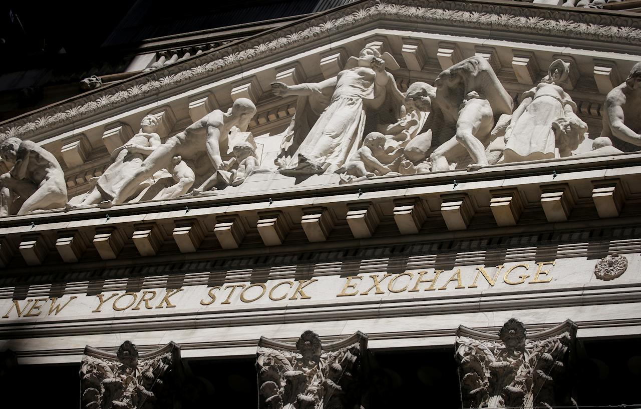 The facade New York Stock Exchange (NYSE) is seen in New York City's financial district, in New York, U.S., May 21, 2018. REUTERS/Brendan McDermid