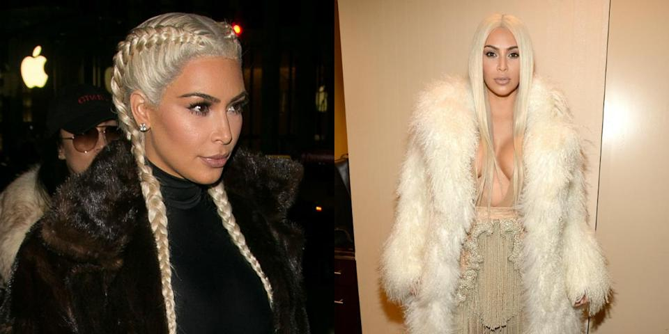 <p>Kim K rocked some seriously sexy blonde tresses for Yeezy Season 3 (we're digging the boxer braids). <i>(Photos: Getty/February 2016) </i> </p>
