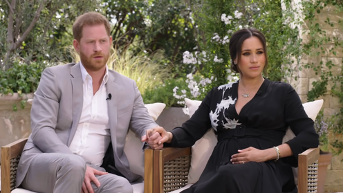"<span class=""caption"">The Sussexes' interview with Oprah aired on CBS on Sunday</span> <span class=""attribution""><a class=""link rapid-noclick-resp"" href=""https://www.youtube.com/watch?v=y7LJrh5UTr4"" rel=""nofollow noopener"" target=""_blank"" data-ylk=""slk:CBS/YouTube"">CBS/YouTube</a></span>"