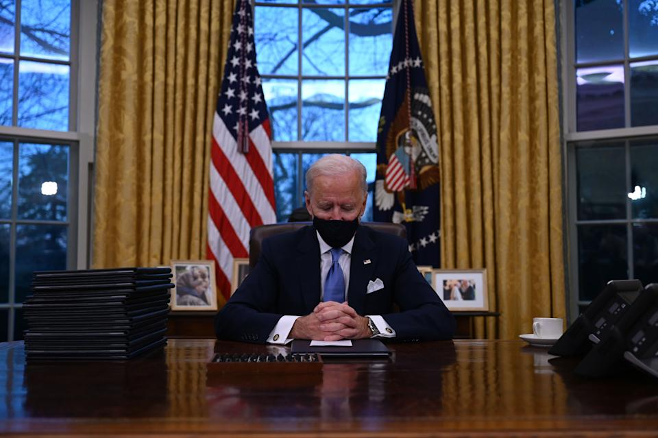 <p>Joe Biden says Donald Trump left him a 'very generous' letter in Oval Office.</p> (JIM WATSON/AFP via Getty Images)