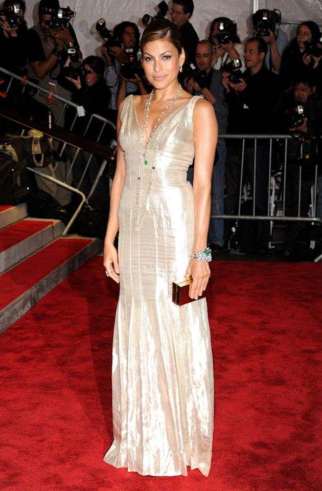 "Eva Mendes shimmered in a simple yet chic Calvin Klein creation. Kevin Mazur/<a href=""http://www.wireimage.com"" target=""new"">WireImage.com</a> - May 4, 2009"