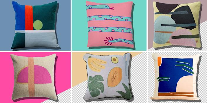 """<div class=""""caption""""> The modern-day throw pillow doesn't just sit in the corner of the sofa; its geometric patterns and wacky illustrations are loud and will give your living room <em>life</em>. Clockwise from left: <a href=""""https://www.dusendusen.com/products/dot-pillow"""" rel=""""nofollow noopener"""" target=""""_blank"""" data-ylk=""""slk:SHOP NOW"""" class=""""link rapid-noclick-resp"""">SHOP NOW</a>: Dot pillow by Dusen & Dusen, $74, dusendusen.com. <a href=""""https://aelfie.com/collections/pillows/products/fake-snake-pillow"""" rel=""""nofollow noopener"""" target=""""_blank"""" data-ylk=""""slk:SHOP NOW"""" class=""""link rapid-noclick-resp"""">SHOP NOW</a>: Fake snake pillow by Aelfie, $55, aelfie.com. <a href=""""https://www.visoproject.com/product/tapestry-pillow-v13/"""" rel=""""nofollow noopener"""" target=""""_blank"""" data-ylk=""""slk:SHOP NOW"""" class=""""link rapid-noclick-resp"""">SHOP NOW</a>: Tapestry pillow by Viso Project, $85, visoproject.com. <a href=""""https://www.coolmachine.fr/shop/housse-de-coussin-serigraphiee-palm/"""" rel=""""nofollow noopener"""" target=""""_blank"""" data-ylk=""""slk:SHOP NOW"""" class=""""link rapid-noclick-resp"""">SHOP NOW</a>: Palm pillow by KJP, $51, coolmachine.fr. <a href=""""https://www.bfgf-shop.com/blankets/fruit-pillow"""" rel=""""nofollow noopener"""" target=""""_blank"""" data-ylk=""""slk:SHOP NOW"""" class=""""link rapid-noclick-resp"""">SHOP NOW</a>: Fruit pillow by BFGF, $90, bfgf-shop.com. <a href=""""https://www.1stdibs.com/furniture/more-furniture-collectibles/textiles/pillows-throws/nia-rise-hand-embroidered-modern-geometric-throw-pillow-cover/id-f_11725961/"""" rel=""""nofollow noopener"""" target=""""_blank"""" data-ylk=""""slk:SHOP NOW"""" class=""""link rapid-noclick-resp"""">SHOP NOW</a>: Nia Rise modern geometric pillow cover by Leah Singh, $80, 1stdibs.com. </div> <cite class=""""credit"""">Photo courtesy of Dusen Dusen, Aelfie, Viso Project, Cool Machine, BFGF, and 1st Dibs</cite>"""