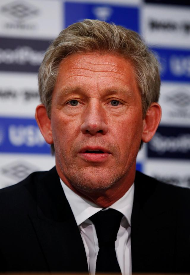 Soccer Football - England - Premier League - Everton - Marco Silva Press Conference - Finch Farm, Liverpool, Britain - June 4, 2018 Everton Director of Football Marcel Brands during the press conference REUTERS/Jason Cairnduff