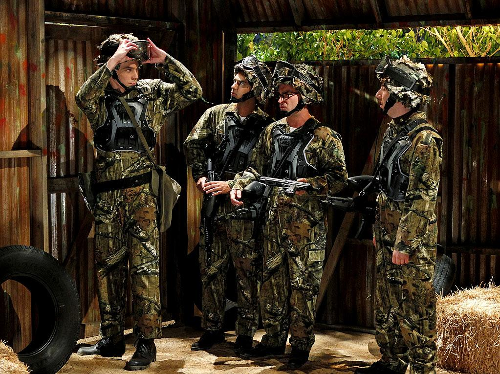 """The Skank Reflex Analysis"" -- The gang deals with the aftermath of Penny and Raj's night together, while Sheldon (Jim Parsons, far left) takes command of the paintball team (left to right: Kunal Nayyar, Johnny Galecki, Simon Helberg), on the fifth season premiere of THE BIG BANG THEORY, Thursday, Sept. 22 (8:00-8:31 PM, ET/PT) on the CBS Television Network.   Photo: Cliff Lipson/CBS ©2011 CBS Broadcasting Inc. All Rights Reserved. Big Bang Theory"