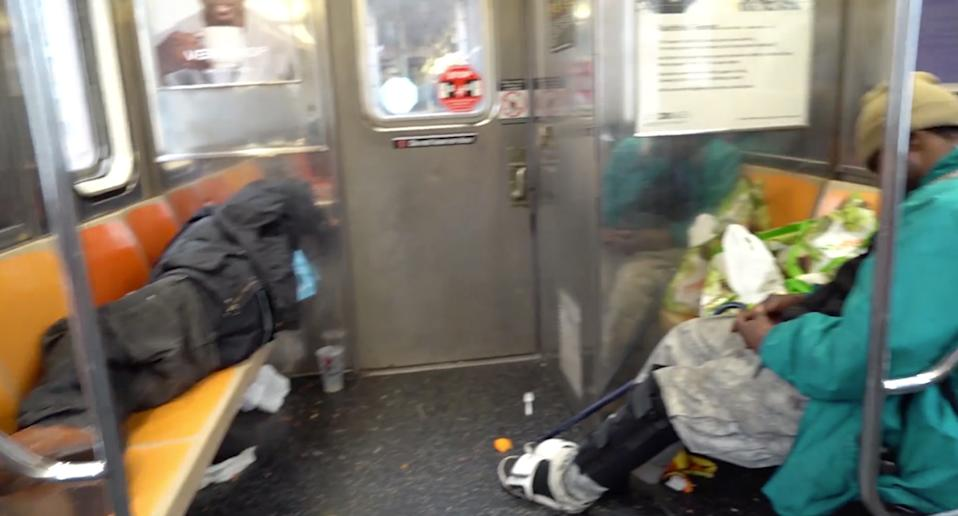 Still from a video filmed by a NYC train worker. Source: CBS