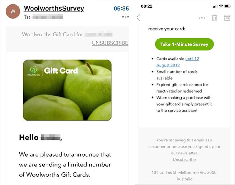 An email purportedly from Woolworths informing the recipient they have won a number of gift cards. They have to complete a survey. Woolies said it's a scam.