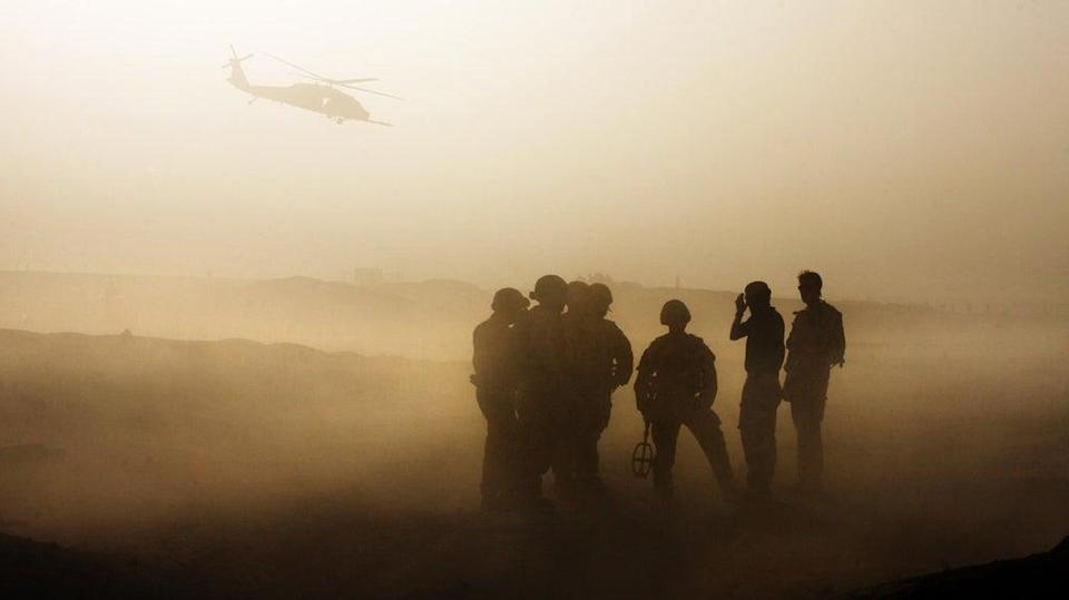 British troops conduct IED training in dusty conditions at Camp Bastion, Helmand Province, Afghanistan (PA) (PA Archive)