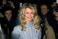<p>Claudia Schiffer attends the party for the New Fashion Cafe wearing a turtle-neck knitted jumper,1994</p>