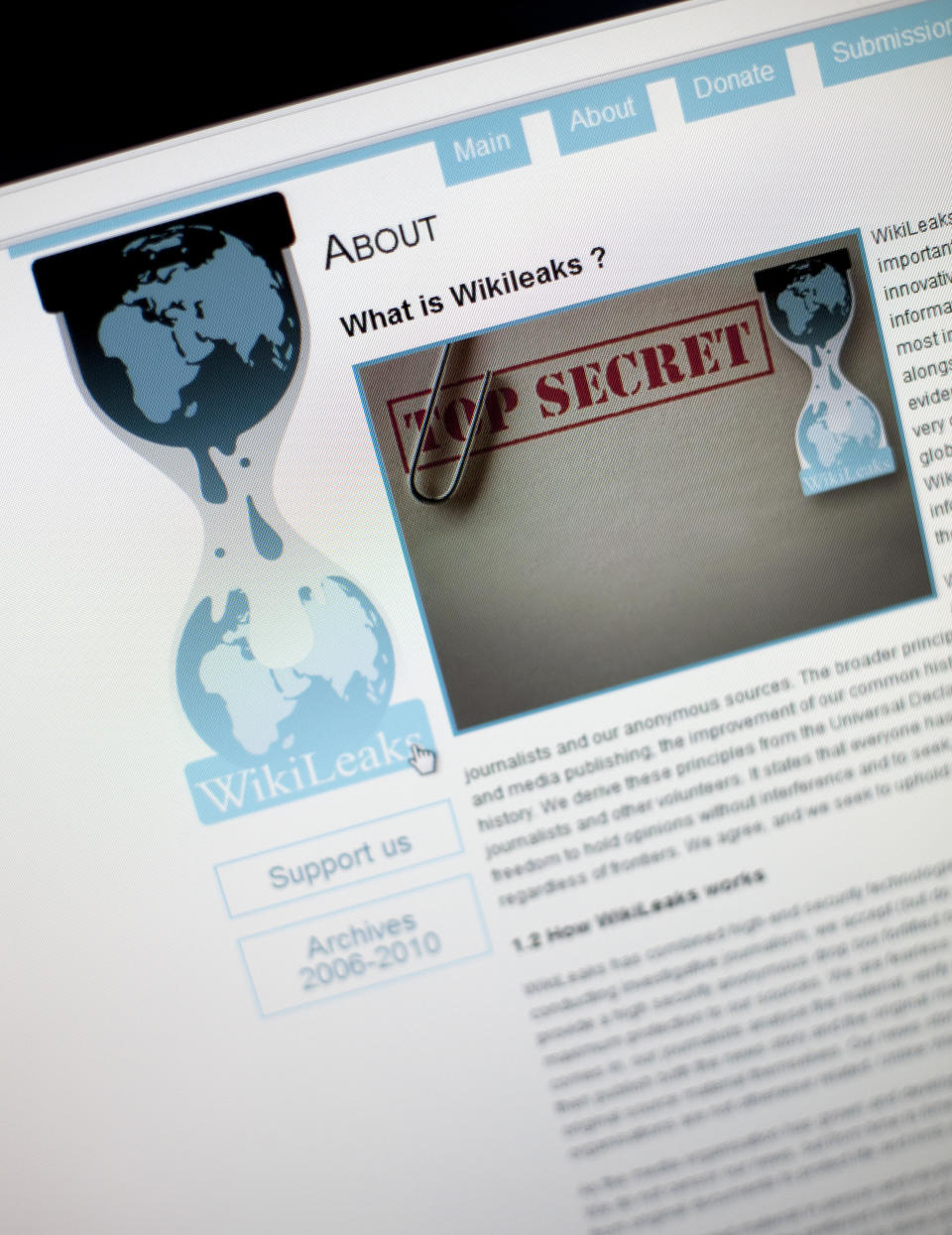 WikiLeaks About page. Source: Getty Images