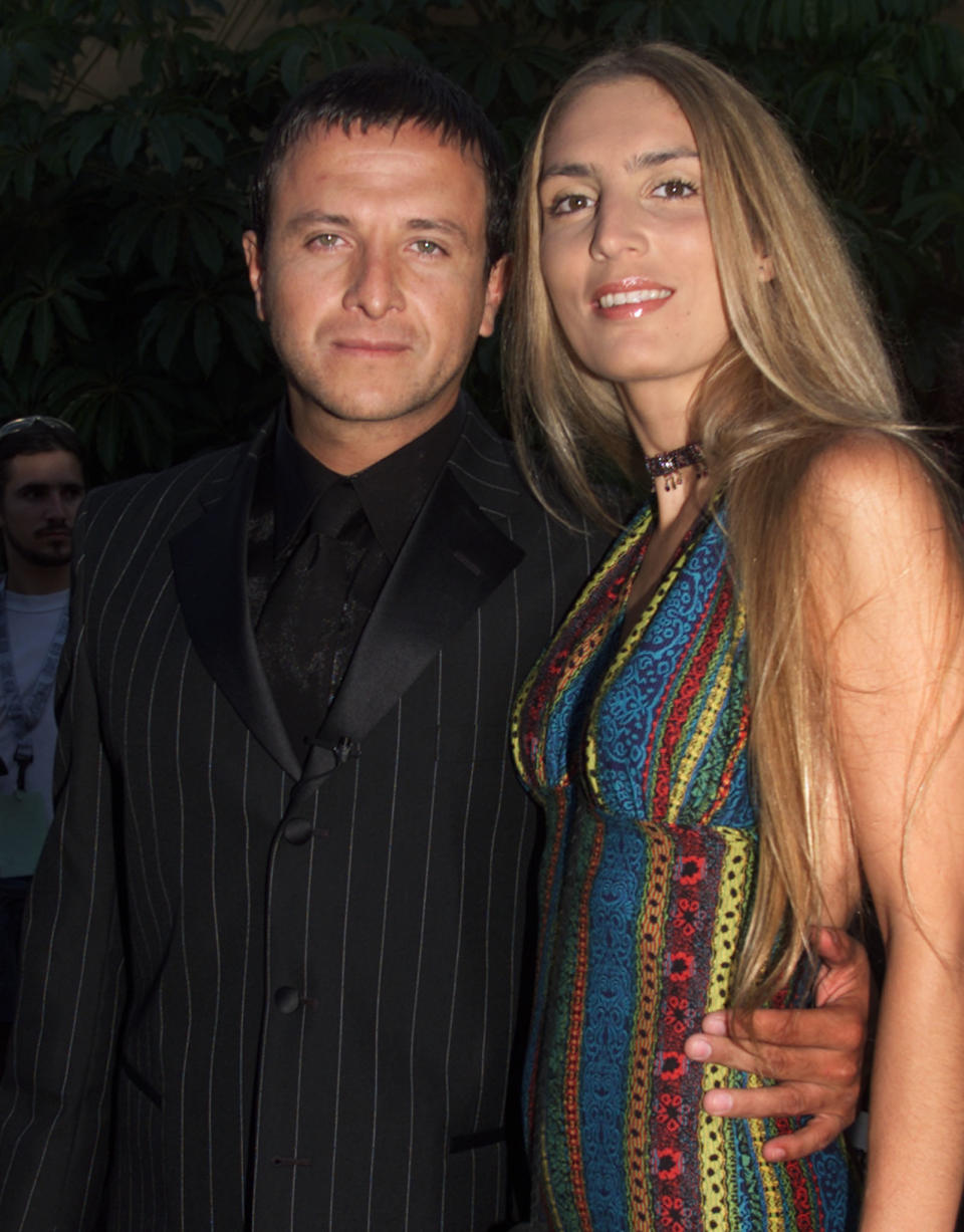 Mexican born actor Eduardo Palomo and wife Carina Ricco arrive at the  closing night of the Los Angeles Latino International Film Festival, in  Hollywood July 28, 2001.    RMP/HB