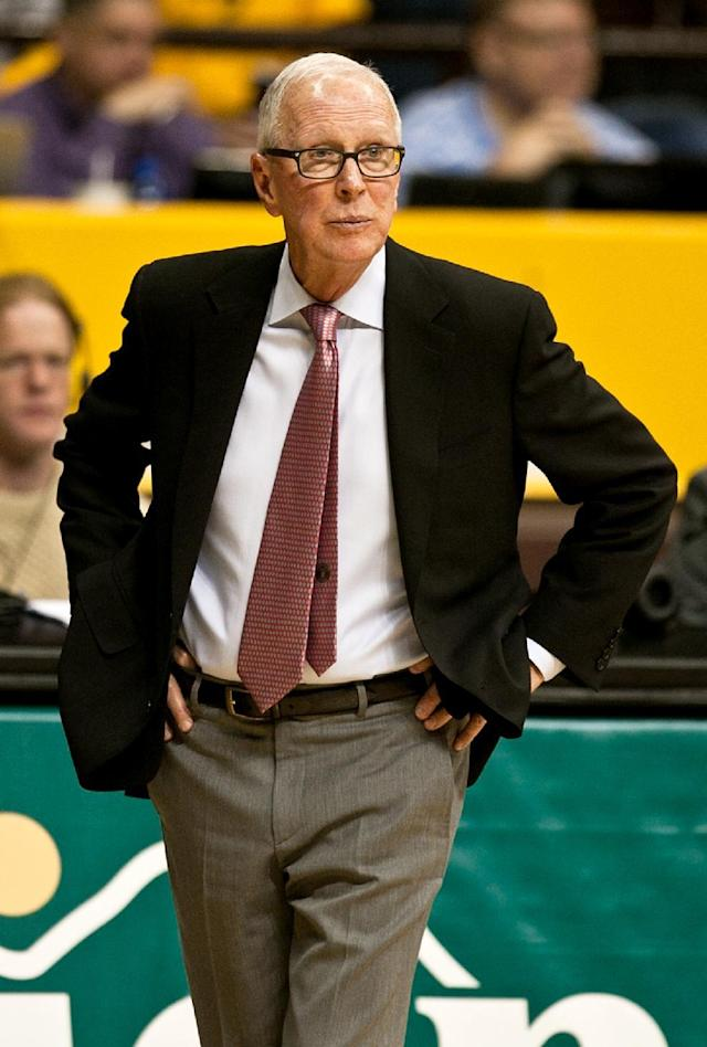 San Diego State head coach Steve Fisher watches his team bring the ball back down court against Wyoming on Tuesday, Feb. 11, 2014, at the Arena-Auditorium in Laramie, Wyo. (AP Photo/Jeremy Martin)