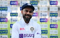 <p>LONDON, ENGLAND - AUGUST 16: India captain Virat Kohli speaks at the post match presentations on day five of the Second LV= Insurance Test Match between England and India at Lord's Cricket Ground on August 16, 2021 in London, England. (Photo by Gareth Copley/Getty Images)</p>