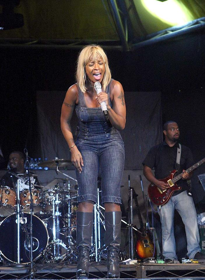 "Was Mary J. Blige going for a barnyard-chic look in her overalls and wellies? Bennett Raglin/<a href=""http://www.wireimage.com"" target=""new"">WireImage.com</a> - July 13, 2008"