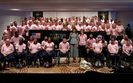U.S. first lady Melania Trump meets with Team USA prior to attending the opening ceremony of the Invictus Games in Toronto, Canada September 23, 2017. REUTERS/Jonathan Ernst
