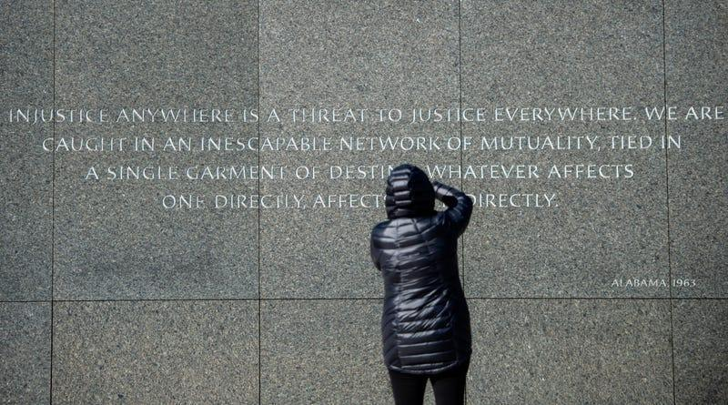 People visit the Martin Luther King Jr. Memorial in Washington, DC on Martin Luther King Day on January 21, 2019.