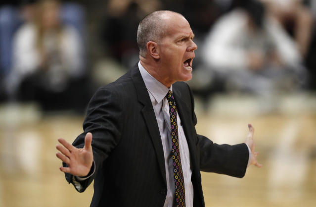 Colorado head coach Tad Boyle directs his team against Utah in the first half of an NCAA college basketball game Sunday, Jan. 12, 2020, in Boulder, Colo. (AP Photo/David Zalubowski)