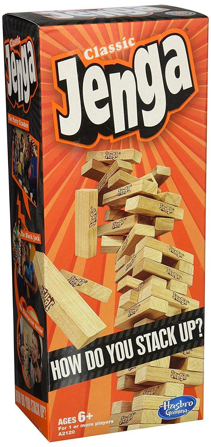 "You can't go wrong with this <a href=""https://www.amazon.com/Hasbro-A2120-Jenga-Classic-Game/dp/B00ABA0ZOA/ref=zg_bs_toys-and-games_23?_encoding=UTF8&psc=1&refRID=B28WNH6NWPG1BEK0TGQK"" target=""_blank"">classic, strategic game</a>."