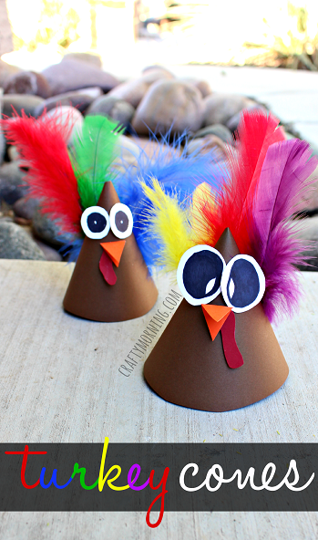 """<p>With bug eyes and vibrant plumes, these turkeys work great as a holiday table topper. </p><p><em><a href=""""http://www.craftymorning.com/turkey-cone-craft-kids-make-hat-idea/"""" rel=""""nofollow noopener"""" target=""""_blank"""" data-ylk=""""slk:Get the tutorial at Crafty Morning »"""" class=""""link rapid-noclick-resp"""">Get the tutorial at Crafty Morning »</a></em> </p>"""