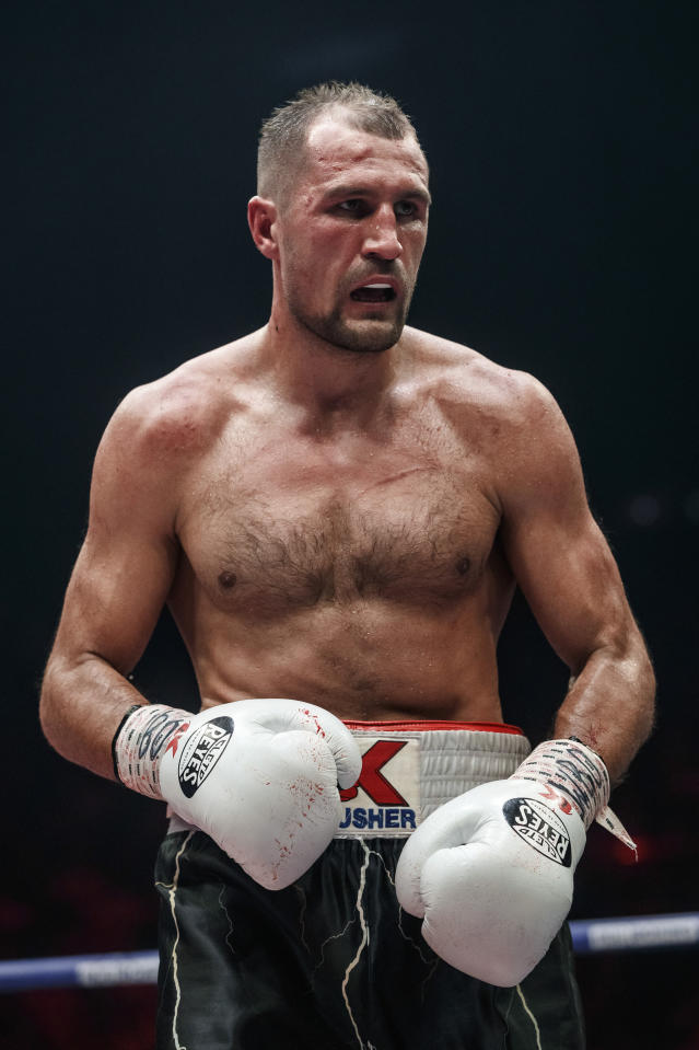 Sergey Kovalev of Russia during his WBO light heavyweight title bout against Anthony Yarde of Britain in Chelyabinsk, Russia, Saturday, Aug. 24, 2109. (AP Photo/Anton Basanayev)