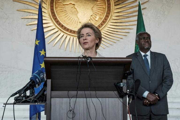 European Commission president Ursula von der Leyen in Ethiopia's capital Addis Ababa, her first trip outside Europe since being appointed (AFP Photo/EDUARDO SOTERAS)