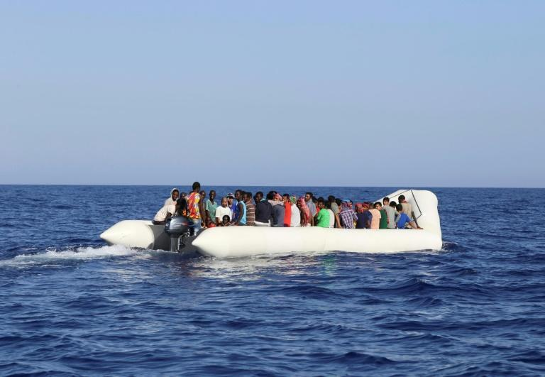 Migrants are rescued by Malta-based NGO Migrant Offshore Aid Station (MOAS) off Libya