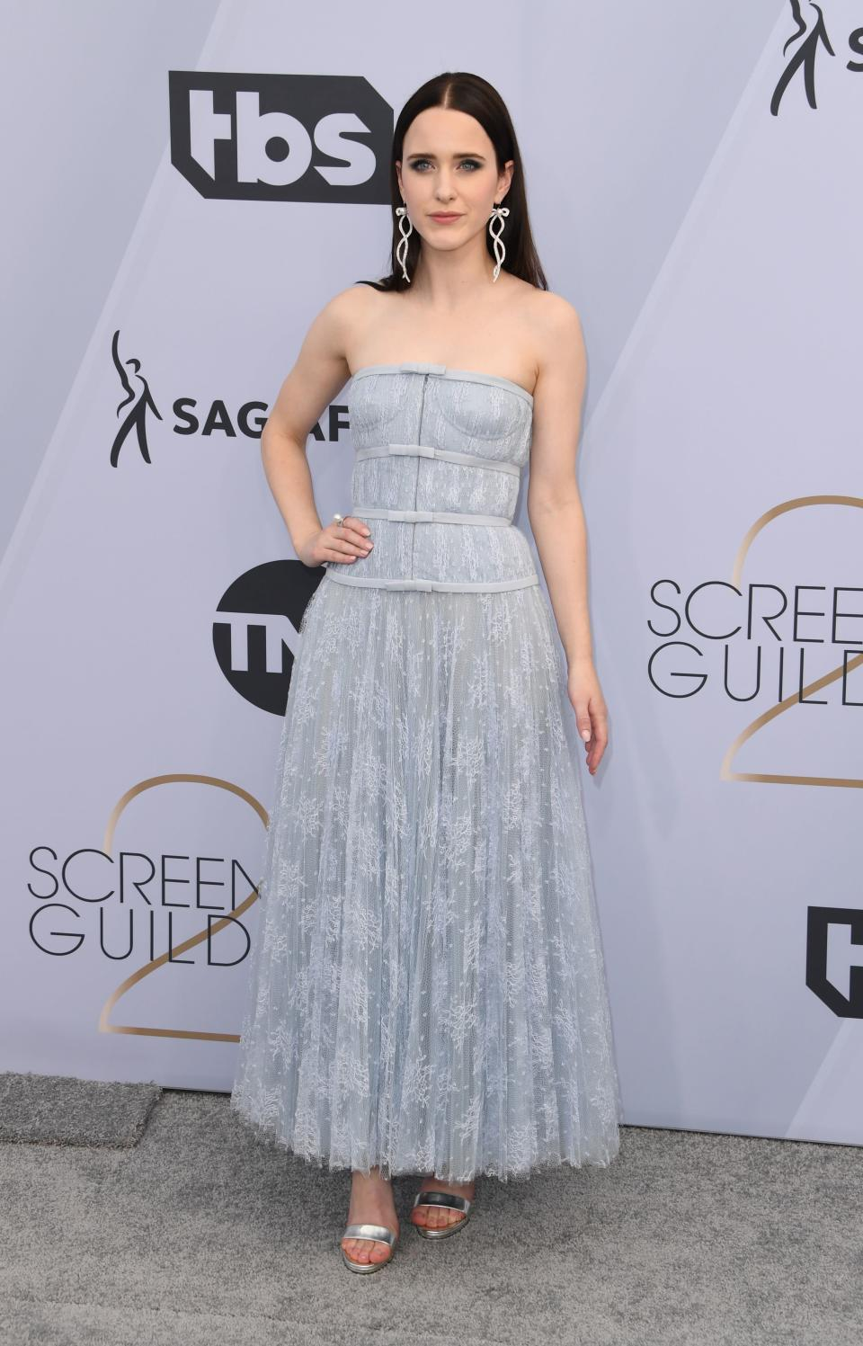 <p>Wearing Dior with Jimmy Choo shoes. <em>[Photo: Getty]</em> </p>