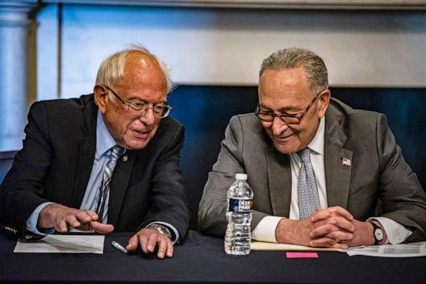 PHOTO: Senate Majority Leader Chuck Schumer and Committee Chairman Bernie Sanders  hold a meeting with Senate Budget Committee Democrats at the U.S. Capitol on June 16, 2021 in Washington, D.C. (Samuel Corum/Getty Images, FILE)