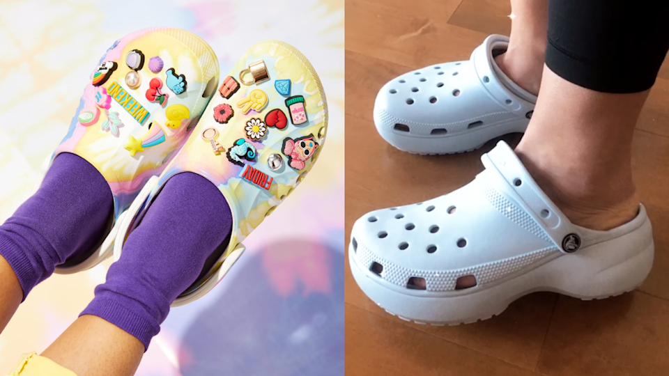 A pair of Crocs with Jibbitz charms (left) and a pair of platform Crocs (right).