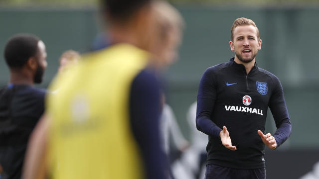 England's Harry Kane claps his hands as he takes part in a training session for the England team at the 2018 soccer World Cup, in the Spartak Zelenogorsk ground, Zelenogorsk near St. Petersburg, Russia, Thursday, June 21, 2018. (AP Photo/Alastair Grant)