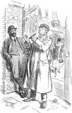 Sketch of two men in 1917, one smoking a cigar.
