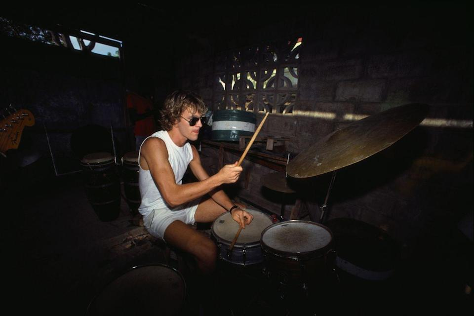 <p>Copeland, the drummer for The Police, is too cool for pants or sleeves. Enough said. </p>