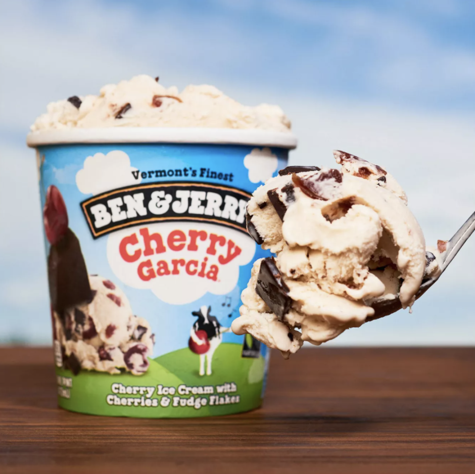 """<p>The iconic Ben & Jerry's flavor known as Cherry Garcia was actually made because of an anonymous customer suggestion about making a flavor in honor of Grateful Dead's Jerry Garcia. The flavor debuted in 1987 and is one of the brand's top three most popular flavors. Jane Williamson was eventually credited for the original anonymous suggestion and the mix of cherry ice cream, whole cherries, and fudge flakes is available in grocery stores everywhere. As our editorial director put it: """"It was a revelation.""""</p>"""